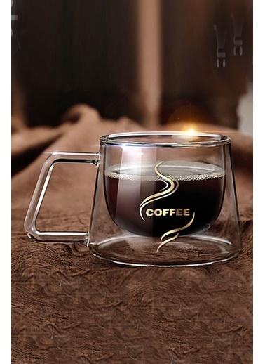 Kitchen Love Çift Cidarlı Kulplu Cam Coffee Kupa/Bardak Renkli